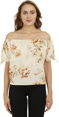 POISON IVY Party Sleeveless, No Sleeve, Short Sleeve, Puff Sleeve Floral Print, Printed Women Beige Top