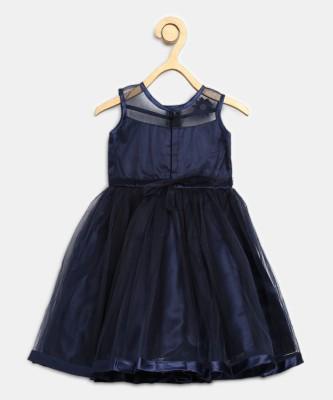 Miss & Chief Girls Midi/Knee Length Party Dress(Dark Blue, Sleeveless) at flipkart