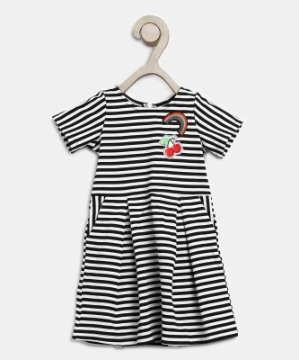 Miss & Chief Girls Midi/Knee Length Casual Dress(Black, Half Sleeve) at flipkart