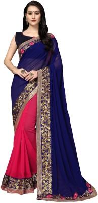 Aashvi Creation Embroidered, Embellished, Solid Fashion Georgette Saree Blue