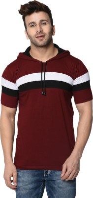 FASHION AERO Striped Men Hooded Neck Maroon T-Shirt