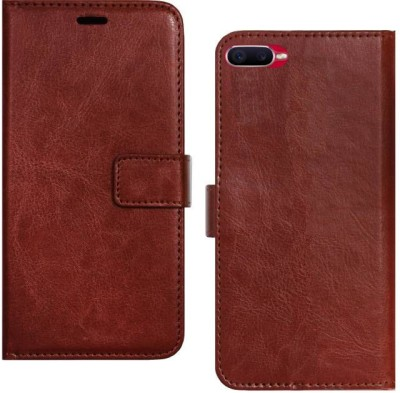 Spicesun Flip Cover for Realme C2(Brown, Shock Proof)