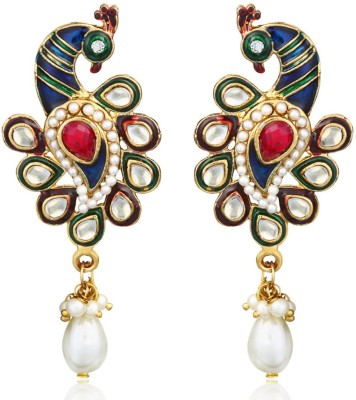 Zaveri Pearls Vibrant Peacock Zinc Drops & Danglers at flipkart