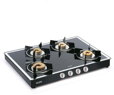 GLEN 1048 GT Black Forged Burners Mirror Finish Glass Manual Gas Stove(4 Burners)