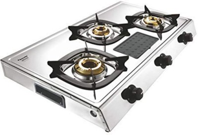Butterfly Matchless 3 Burner Stainless Steel Manual Gas Stove(3 Burners)