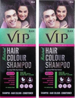 VIP Natural Hair Colour Shampoo 400ML, Pack of 2 ( Black ) Hair Color(Black)