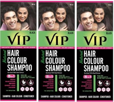 VIP Natural Hair Colour Shampoo. Black 180ml, pack of 3 Hair Color(Black)
