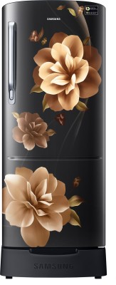 Samsung 192 L Direct Cool Single Door 3 Star Refrigerator with Base Drawer(Camellia Black, RR20R182ZCB/HL)