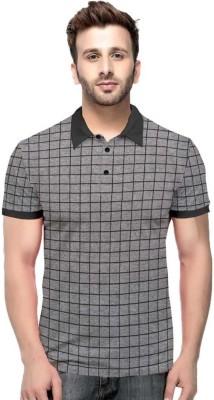 Afams Checkered Men Polo Neck Grey, Black T-Shirt