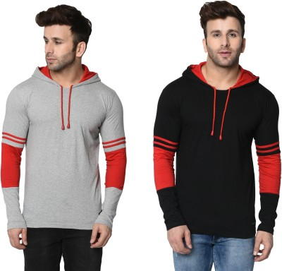 FASHION AERO Color Block Men Hooded Neck Grey, Black T-Shirt