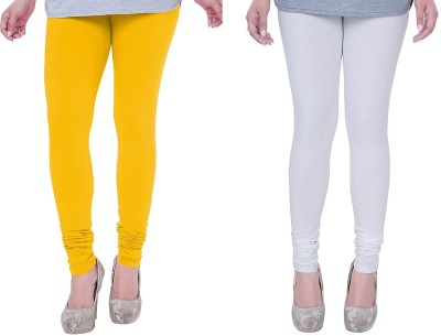 Anaya Apparels Churidar  Legging(White, Yellow, Solid)