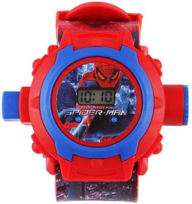 M John's New Spiderman Outometic Projector With 24 Grids Cractor Watch For Kids Digital Watch - For Boys