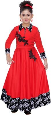 KAARIGARI Girls Maxi/Full Length Party Dress(Red, 3/4 Sleeve)