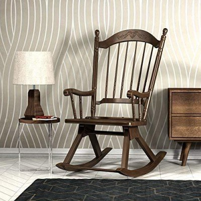 Forzza Calgary Solid Wood 1 Seater Rocking Chairs(Finish Color - New Chestnut)