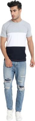 Fanideaz Striped Men Polo Neck Dark Blue, White, Grey T-Shirt