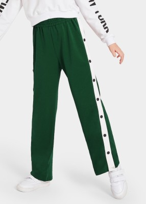 MS BOTTOM Regular Fit Women Dark Green Trousers