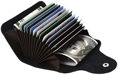 Flipkart SmartBuy Black Credit-Card Organizer Snap Wallet Money Case Leather Mini Purse for Men & Women 15 Card Holder(Set of 1, Black)