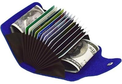Flipkart SmartBuy Blue Credit-Card Organizer Snap Wallet Money Case Leather Mini Purse for Men & Women 15 Card Holder(Set of 1, Blue)