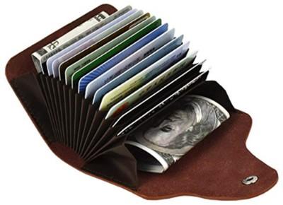 Flipkart SmartBuy Light Brown Credit-Card Organizer Snap Wallet Money Case Leather Mini Purse for Men & Women 15 Card Holder(Set of 1, Brown)