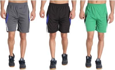 M.R.D. Solid Men Black, Grey, Light Green Sports Shorts
