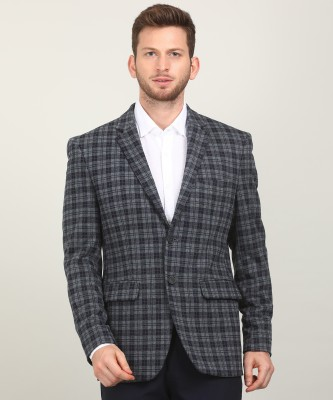 Peter England Checkered Single Breasted Casual Men Blazer(Blue)