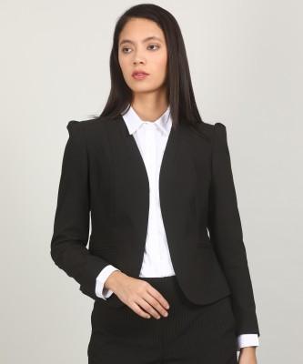 Van Heusen Solid Single Breasted Formal Women Blazer(Black) at flipkart