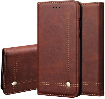 Heavy Duty Wallet Case Cover for Apple iPhone XR(Brown, Dual Protection)