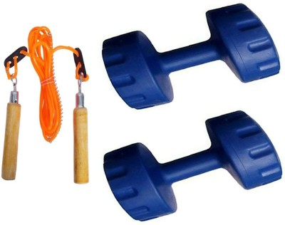 StepInnStore 4*KG (2*KG EACH) PVC Fixed Weight Dumbbell with Skipping Rope Home Gym Kit