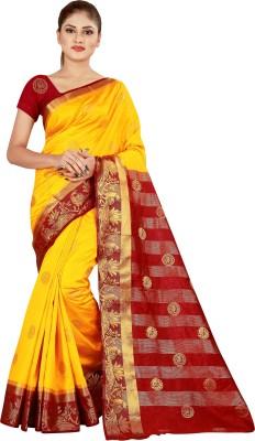 Mavani Solid Bollywood Poly Georgette Saree(Yellow)