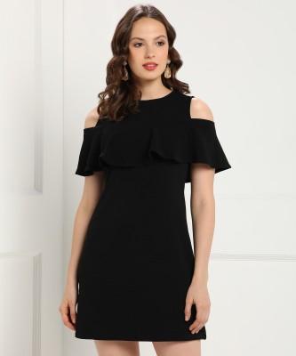 FabAlley Women Shift Black Dress at flipkart
