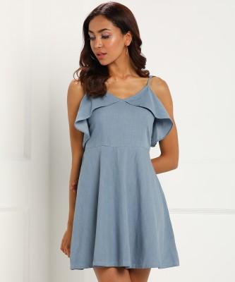 FabAlley Women Fit and Flare Blue Dress at flipkart
