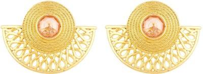 Voylla Golden Glitz Lightly Embellished Earrings Brass Stud Earring Voylla Earrings
