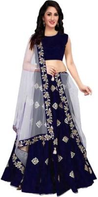 PMD Fashion Embroidered Semi Stitched Lehenga Choli(Blue)