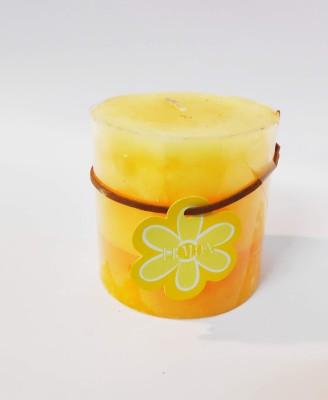 Chahat Premium Living Floral Designer Lemon Candle|Scented Candles Floral Lemon Candle(Orange, Yellow, Pack of 1)