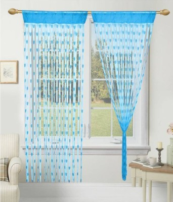Panipat Textile Hub 210 cm (7 ft) Net Door Curtain (Pack Of 2)(Self Design, Sky)