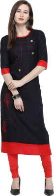 PURVAJA Festive & Party Printed Women Kurti(Black)
