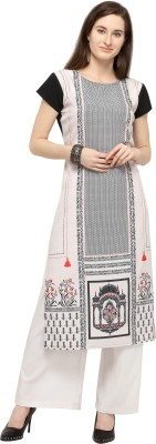 PURVAJA Festive & Party Printed Women Kurti(White)