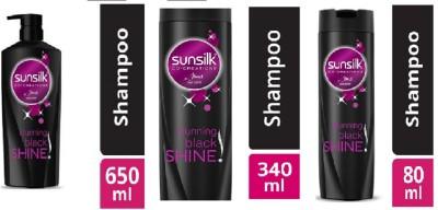 SUNSILK CO CREATION STUNNING BLACK SHAMPOO 650+340+80 ML(1070 ml)