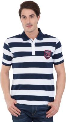 Jockey Color Block, Striped Men Polo Neck Dark Blue, White T-Shirt