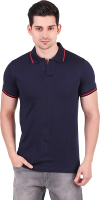 TeeStores Printed Men Polo Neck Blue T-Shirt
