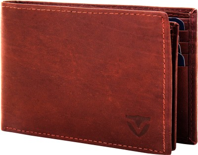VALBONE Men Brown Genuine Leather Wallet 8 Card Slots