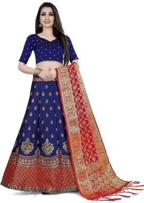 Sonu Creation Printed Semi Stitched Lehenga, Choli and Dupatta Set(Dark Blue, Orange)