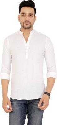 LAKDA'S SHIRT Men Solid Casual White Shirt