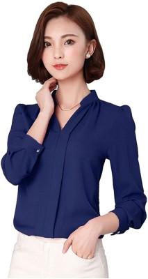 Tishani Women Solid Formal Blue Shirt
