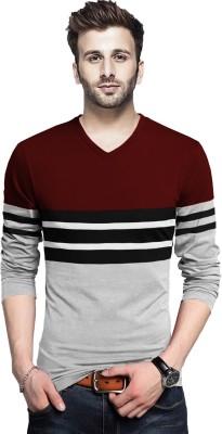 Tripr Color Block Men V Neck Maroon, Grey T-Shirt