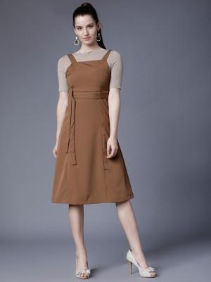 Tokyo Talkies Women Maxi Brown Dress at flipkart