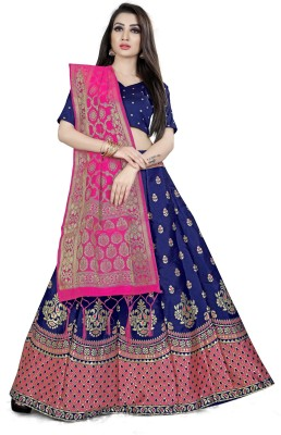 Shree Creation Self Design Semi Stitched Lehenga Choli(Blue, Pink)