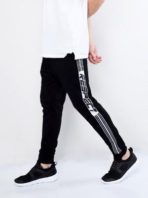 Maniac Striped Men Black, White Track Pants