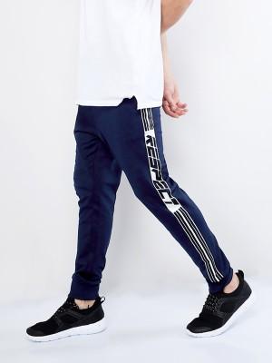 Maniac Striped Men Dark Blue, White Track Pants