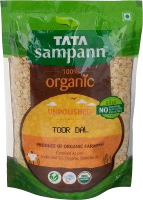 Tata Sampann Organic Unpolished Yellow Toor Dal (Split)(500 g)